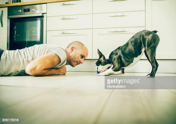 飼い主と遊び心のある犬