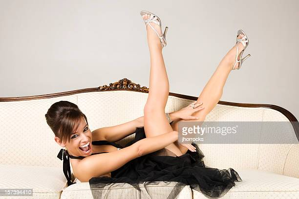 playful elegant beauty - beautiful legs in high heels stock photos and pictures