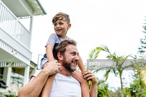 Playful father and son