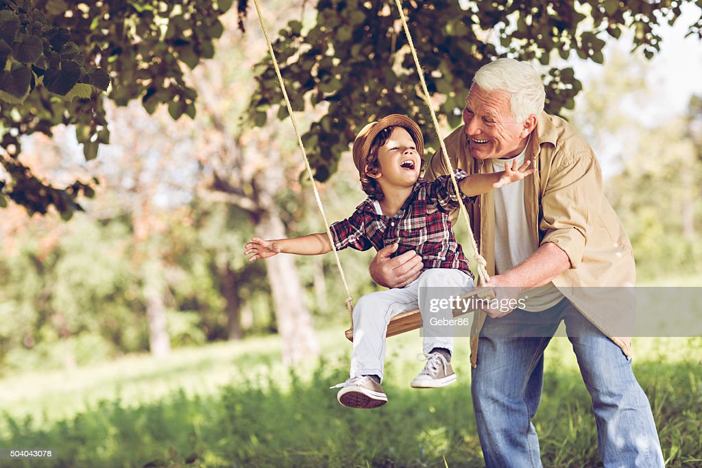 Playful grandfather : Stock Photo