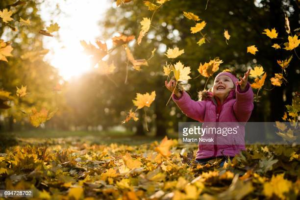 playful kid throwing up leaves in park - autumn falls stock pictures, royalty-free photos & images