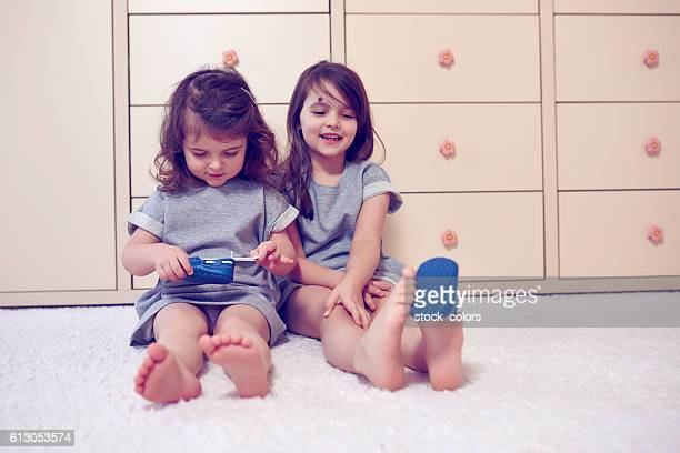 playful little girls - six girl stock photos and pictures