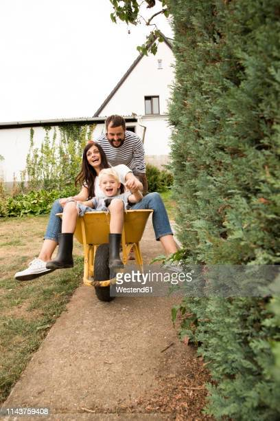 playful man pushing wife and son sitting in wheelbarrow in garden - wheelbarrow stock pictures, royalty-free photos & images