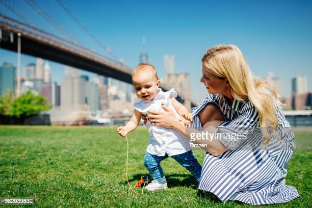Playful mother and baby in United States