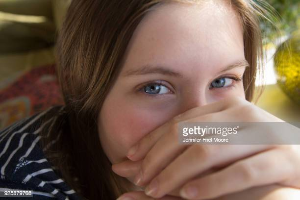 playful portrait of a 15 year old girl - teenagers only stock pictures, royalty-free photos & images