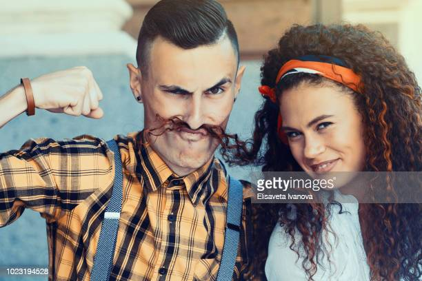Playful portrait of a young couple