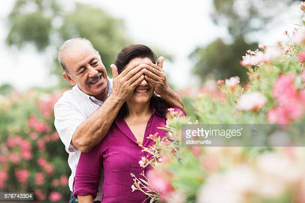 Playful senior man covering his wife's eyes
