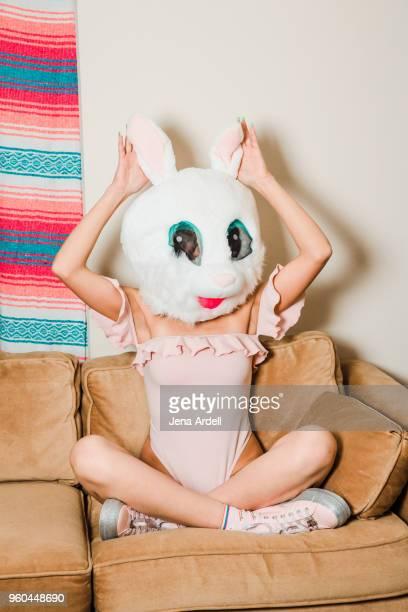 playful woman kawaii woman wearing disguise bunny costume rabbit mask - kawaii foto e immagini stock