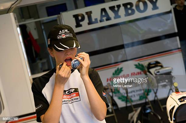 Playgirl is seen during presentation of the new sponsor Playboy during Irta Test on March 28 2009 in Jerez de la Frontera Spain