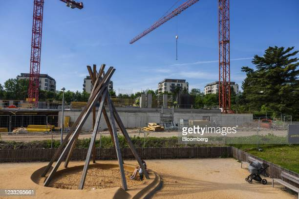 Playground beside a residential apartment construction site, on a plot of brownfield land in the Vysoany district in Prague, Czech Republic, on...