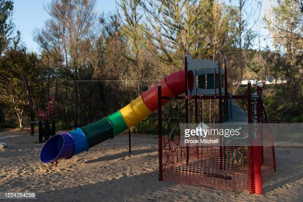 A playground in Cobargo is fenced off due to the COVID19 pandemic on May 10 2020 in Cobargo Australia The small town of Cobargo on the New South...
