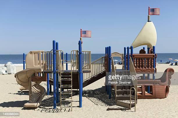 A playground made to look like a ship on Virginia Beach, Virginia, USA