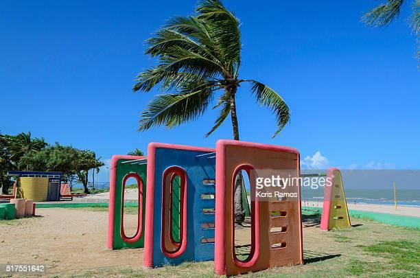 playground opposite the beach reef in Brazil