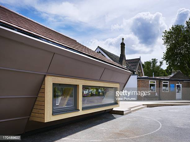 Playground view of window canopy Dulwich Village Infant School London United Kingdom Architect Cazenove Architects 2012