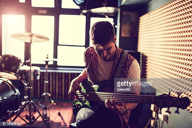 playing a guitar - recording studio stock pictures, royalty-free photos & images