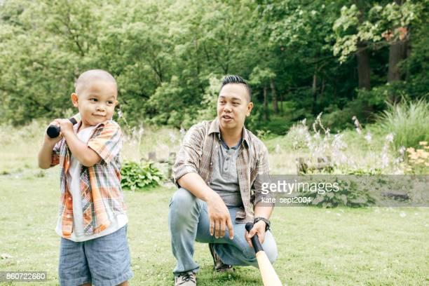 Playing baseball with dad