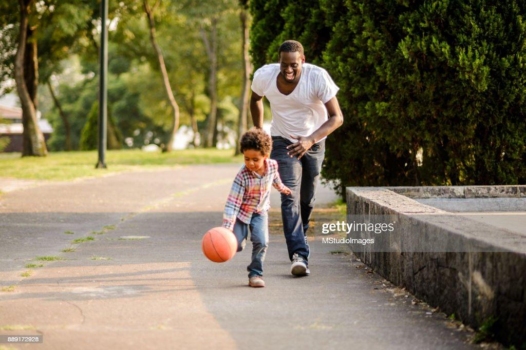 Playing basketball. : Stock Photo
