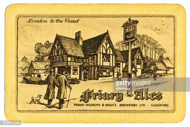 Playing card back alcohol advertising Friary Ales 1930