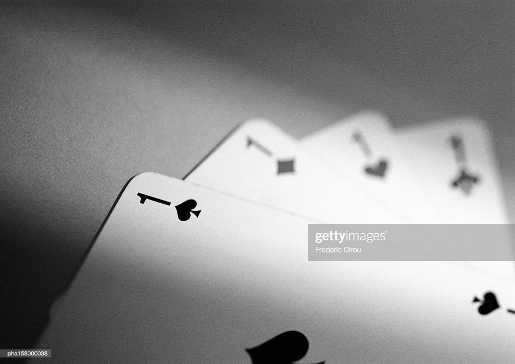 Playing cards, b&w. : Stockfoto