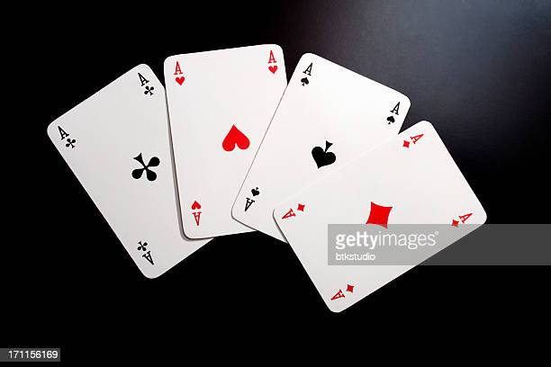 playing cards, four aces - hearts playing card stock photos and pictures