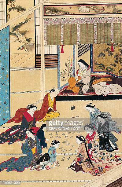 Playing cards in a home for women by Hishikawa Moronobu kakemono in ukiyoe style Japan Japanese Civilisation the 15th century