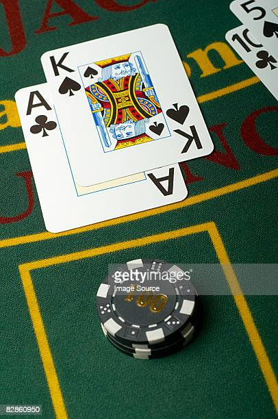 Playing cards on a blackjack table