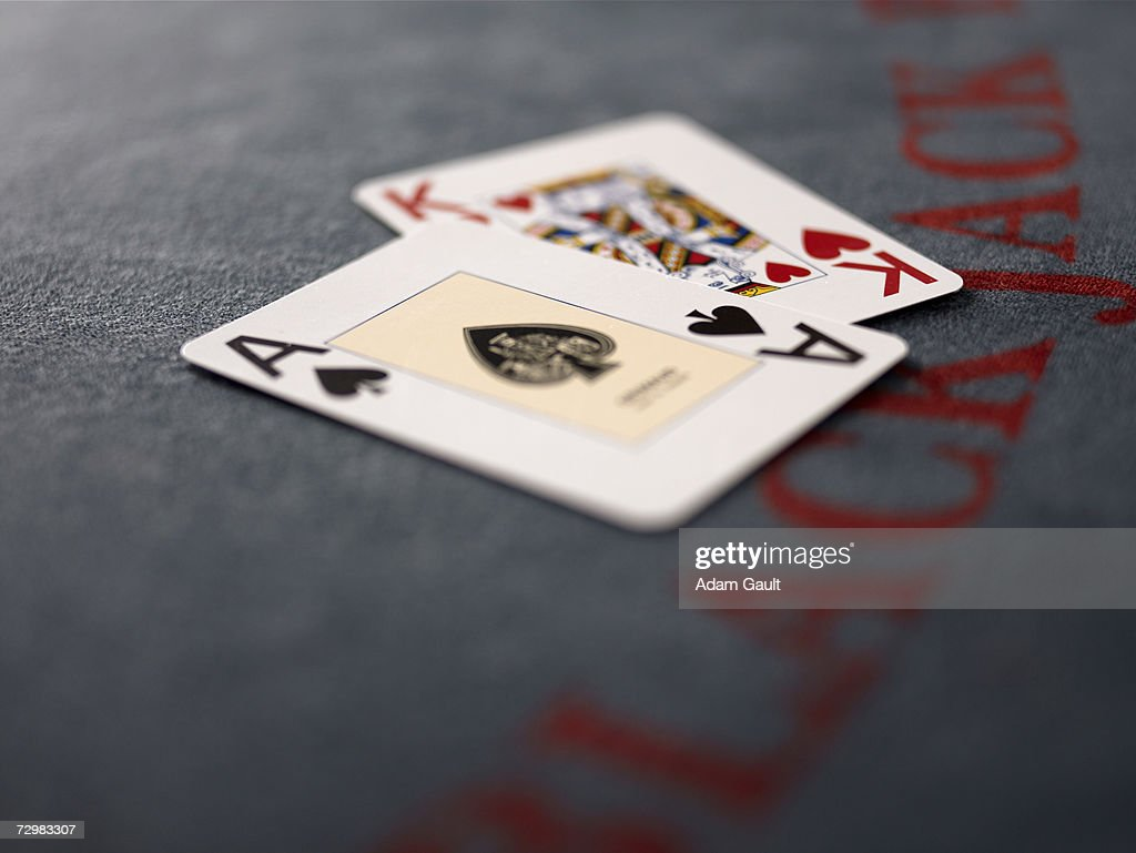 Playing cards on Blackjack table in casino, close-up : Stock Photo