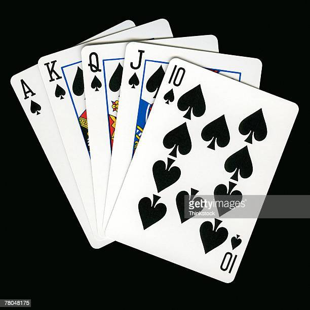 playing cards - royal flush stock photos and pictures