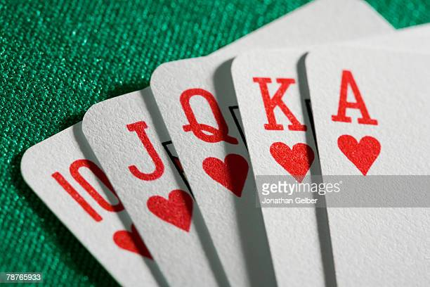 playing cards - hearts playing card stock photos and pictures