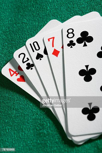playing cards - hand of cards stock photos and pictures