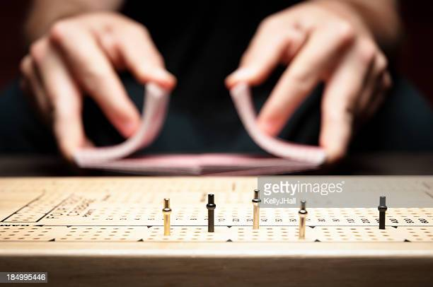 playing cribbage - shuffling stock photos and pictures