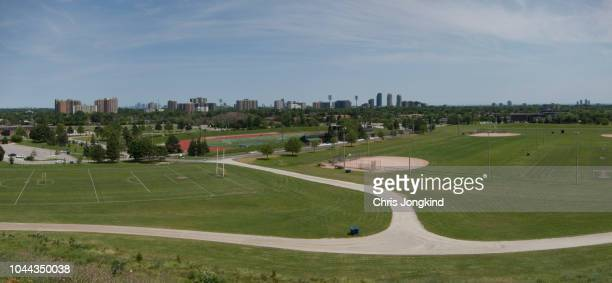 playing fields in city skyline - mississauga stock pictures, royalty-free photos & images