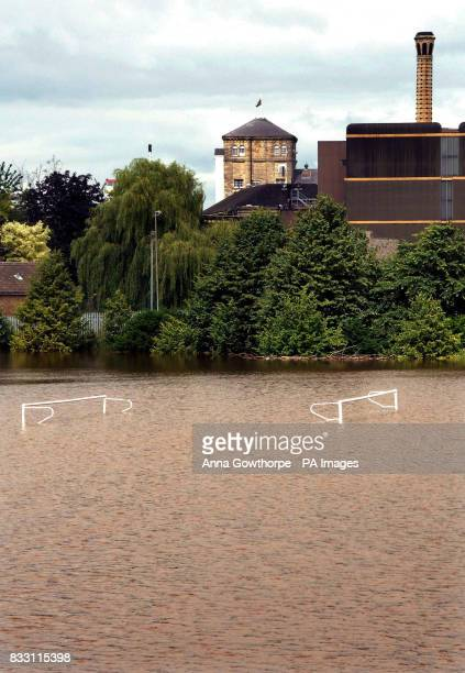 Playing fields under water near the John Smith's Brewery in Tadcaster North Yorkshire where the River Wharfe has burst its banks