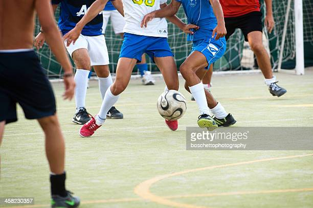 playing five aside football; calcetto - five people stock pictures, royalty-free photos & images