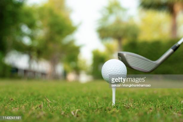 playing golf. golf club and ball. preparing to shot - ゴルフ ストックフォトと画像