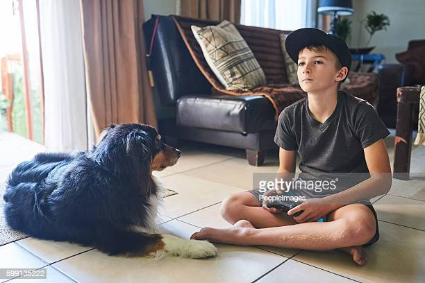 Playing his favourite video game
