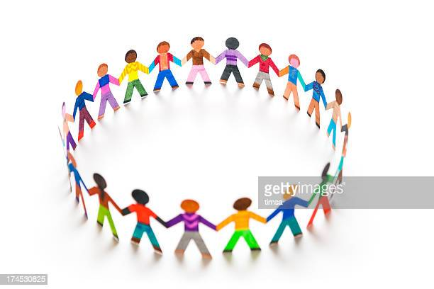 playing in a big circle - paper chain stock pictures, royalty-free photos & images