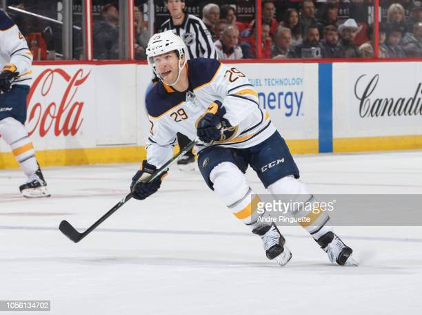 Playing in his 1000th career NHL game Jason Pominville of the Buffalo Sabres skates against the Ottawa Senators at Canadian Tire Centre on November 1...