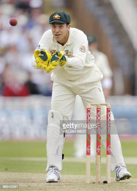 Playing in his first Test match, Australian wicketkeeper Graham Manou catches the ball on the second day of the third Ashes cricket test between...