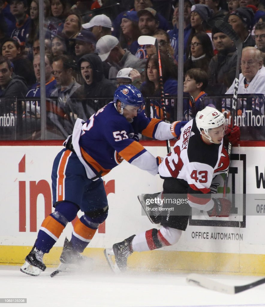 competitive price c624b 77194 Playing in his fist NHL game, Brett Seney of the New Jersey ...