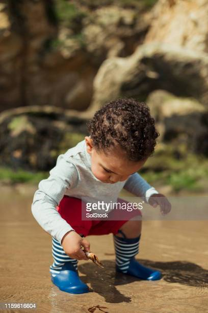playing in the sea - crouching stock pictures, royalty-free photos & images