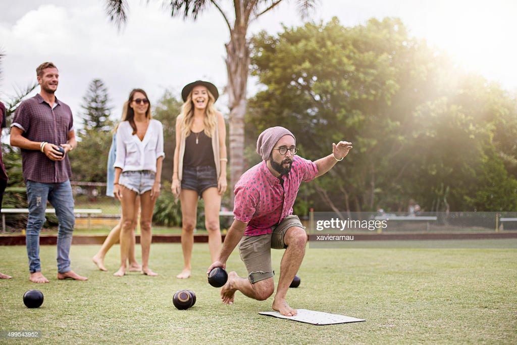 Playing Lawn Bowling : Stock Photo