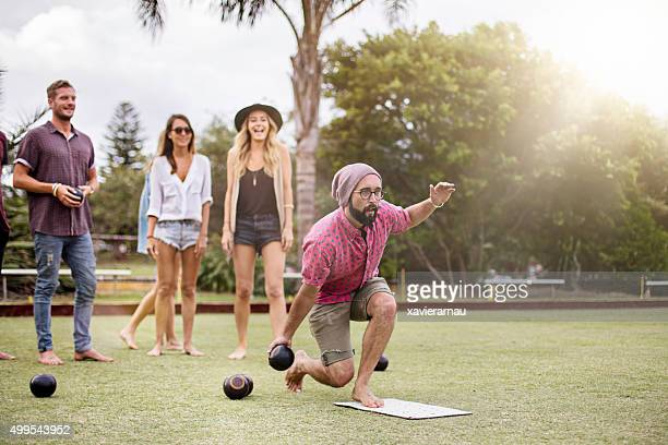 playing lawn bowling - leisure games stock pictures, royalty-free photos & images