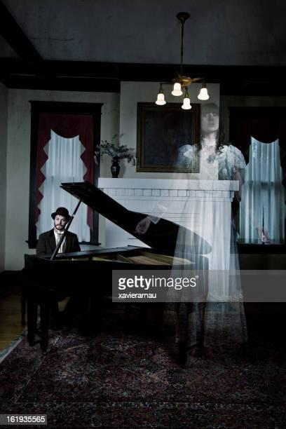 riproduzione di musica per eventi fittizi - ghost player foto e immagini stock