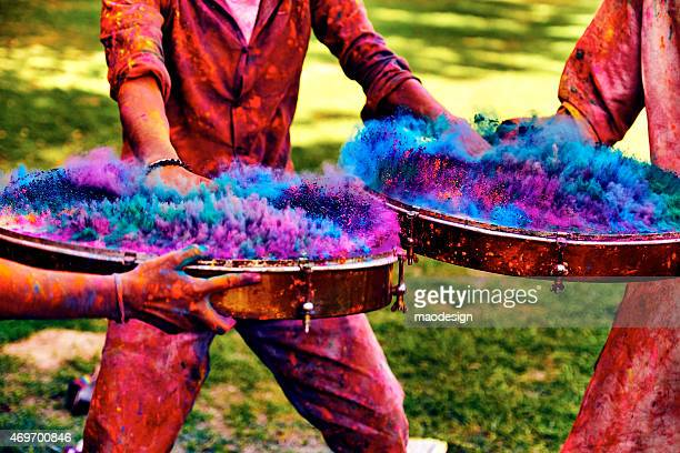 Playing on Indian Drums