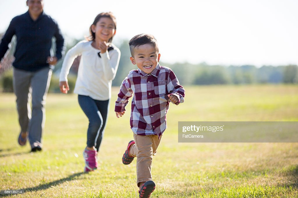 Playing Outside on Father's Day : Stock Photo