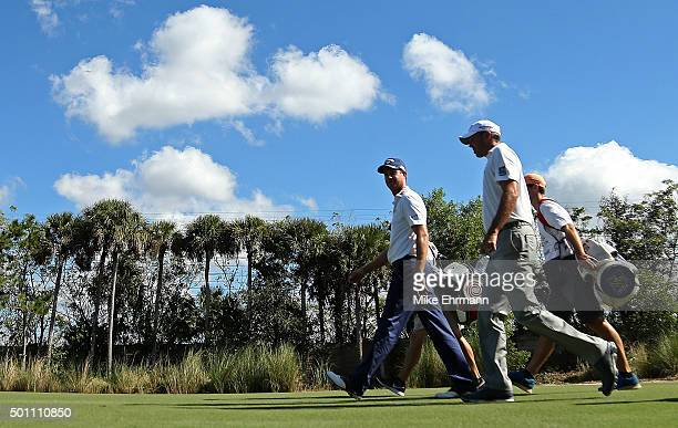 Playing partners Harris English and Matt Kuchar walk up the second hole during the final round of the Franklin Templeton Shootout at Tiburon Golf...