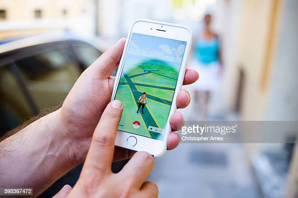 Playing Pokemon Go in the Street