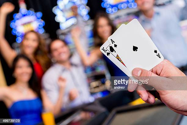 Playing poker at the casino