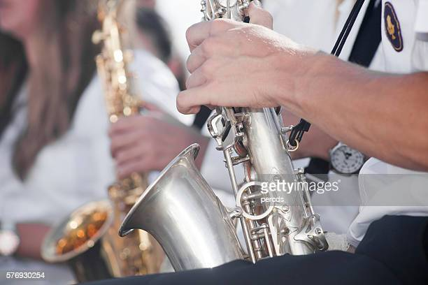 Playing saxophon in an open air concert.